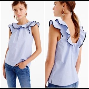 J Crew ruffle top in end-on-end cotton